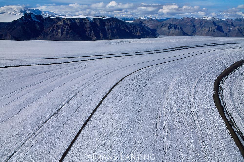 Nabesna Glacier (aerial), Wrangell-St. Elias National Park, Alaska