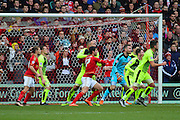 Huddersfield Town goalkeeper Jed Steer commands the goal area in a free kick during the Sky Bet Championship match between Nottingham Forest and Huddersfield Town at the City Ground, Nottingham, England on 13 February 2016. Photo by Aaron  Lupton.