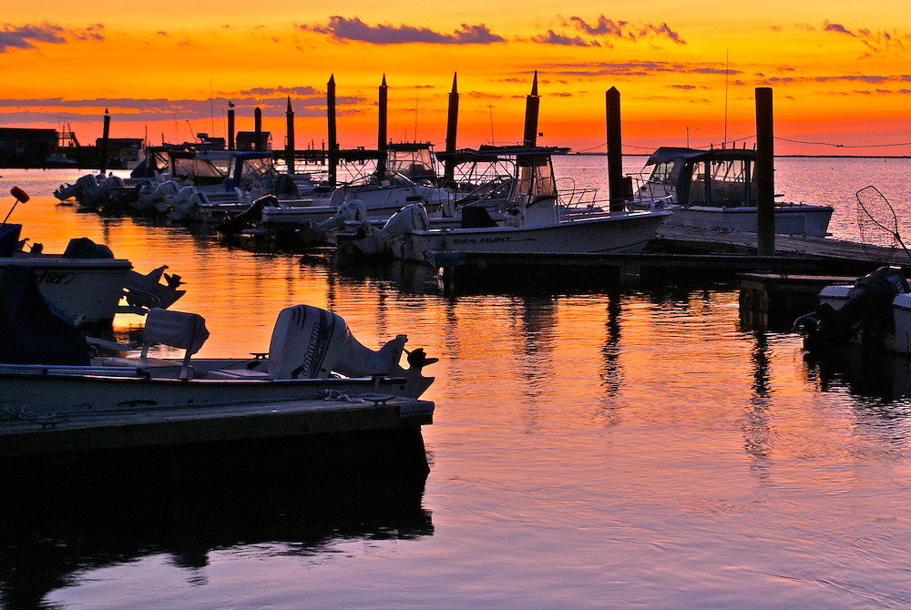 Boats in marina in sunset at Bay Point, Cumberland County, South Jersey