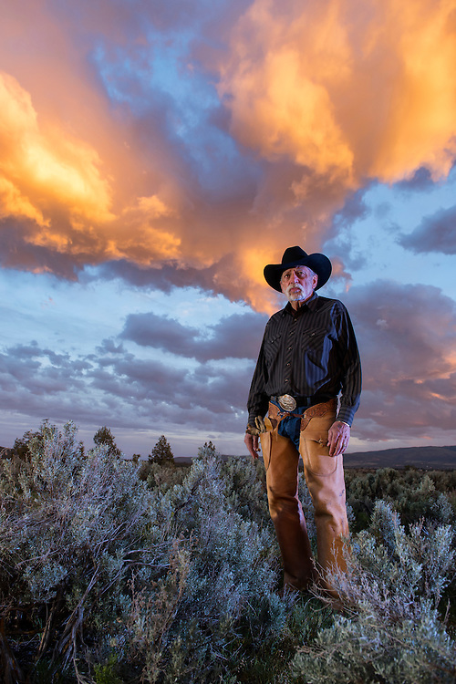 Oregon; American west; ranch; ranching; portrait; couple; cowboy; hat; storm; rancher; american; people; vertical; David Franke; Peggy Franken