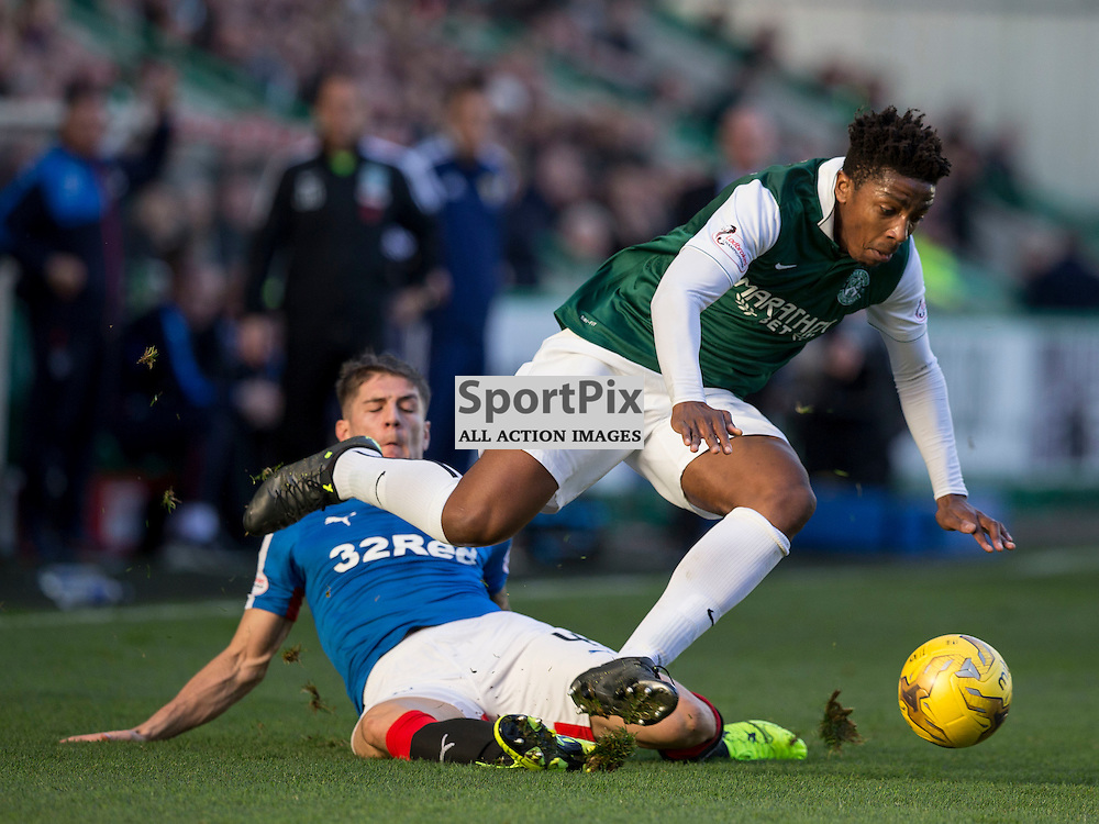 Hibernian FC v Rangers FC <br /> <br /> Rob Kiernan (Rangers) slides in on Dom Malonga (Hibernian) during the SPFL Championship match between Hibernian FC and Rangers FC at Easter Road Stadium on Sunday 1 November 2015.<br /> <br /> Picture Alan Rennie.