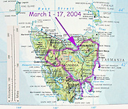 Map of Tasmania, Australia March 1-17, 2004 trip route.