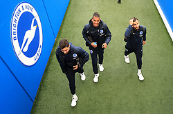 Brighton & Hove Albion's Alireza Jahanbakhsh, Brighton & Hove Albion's Bernardo and Brighton & Hove Albion's Martin Montoya (right) ahead of the Premier League match at the AMEX Stadium, Brighton.