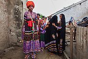 In some village near Bhuj, a newly wedded couple pose for the camera.
