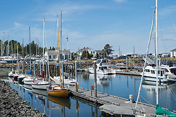 North America, United States, Washington, Port Townsend. Sailboats at a pier.