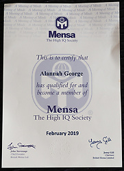 Four-year-old Alannah George who has an IQ of 140 and taught herself to read at two-and-a-half, is a member of Mensa. Iver, Buckinghamshire, March 10 2019.
