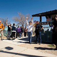 042213       Brian Leddy<br /> Friends and family of Jason Silversmith wave as he drives up at the Playground of Dreams Monday afternoon in Gallup. Silversmith received a warm welcome after returning home from a tour of duty in Afghanistan.