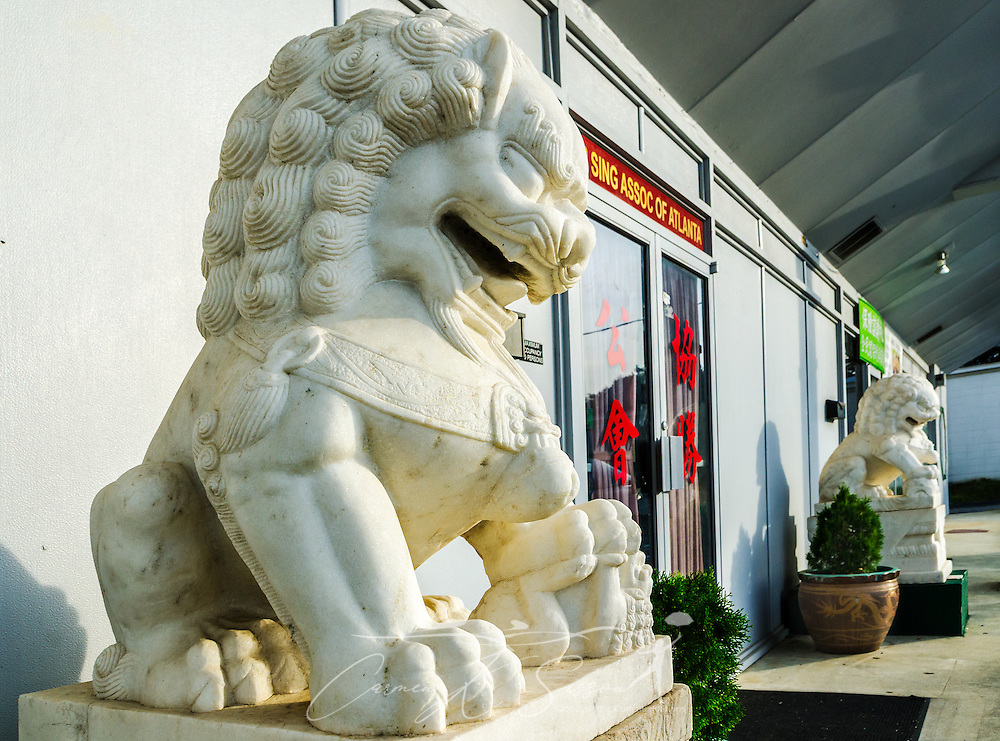 Statues flank the entrance to the Hip Sing Association of Atlanta, June 7, 2014, in Doraville, Georgia. (Photo by Carmen K. Sisson/Cloudybright)