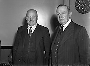 13/08/1952<br /> 08/13/1952<br /> 13 August 1952<br /> F.A.I. members at 80 Merrion Square, Dublin. Mr Jack Traynor, F.A.I. Chairman (Shelbourne) and M.J. Kenny,  F.A.I. Honorary Treasurer.