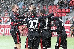 19.12.2010,  BayArena, Leverkusen, GER, 1. FBL, Bayer Leverkusen vs SC Freiburg, 17. Spieltag, im Bild: Torjubel / Jubel nach dem 1:0 durch Arturo Vidal (Leverkusen #23) (re.). Er jubelt mit Michael Kadlec (Leverkusen #24) (li.), Gonzalo Casto (Leverkusen #27), Simon Rolfes (Leverkusen #6) und Tranquillo Barnetta (Leverkusen #7)  EXPA Pictures © 2010, PhotoCredit: EXPA/ nph/  Mueller       ****** out ouf GER ******