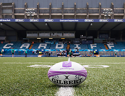 A general view of Cardiff Arms Park, home of Cardiff Blues practice ball<br /> <br /> Photographer Simon King/Replay Images<br /> <br /> European Rugby Challenge Cup - Semi Final - Cardiff Blues v Pau - Saturday 21st April 2018 - Cardiff Arms Park - Cardiff<br /> <br /> World Copyright © Replay Images . All rights reserved. info@replayimages.co.uk - http://replayimages.co.uk