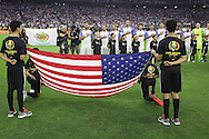 HOUSTON, TEXAS - JUNE 21:  The United States team stands for the anthems before the Semifinal match between Argentina and US at NRG Stadium as part of Copa America Centenario US 2016 on June 21, 2016 in Houston, Texas, US. Argentina won 4 to 0. (Photo by Thomas B. Shea/LatinContent/Getty Images)