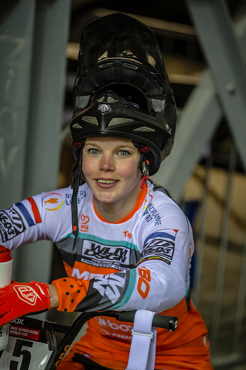 #75 (VAN BENTHEM Merle) NED during practice at the 2019 UCI BMX Supercross World Cup in Manchester, Great Britain