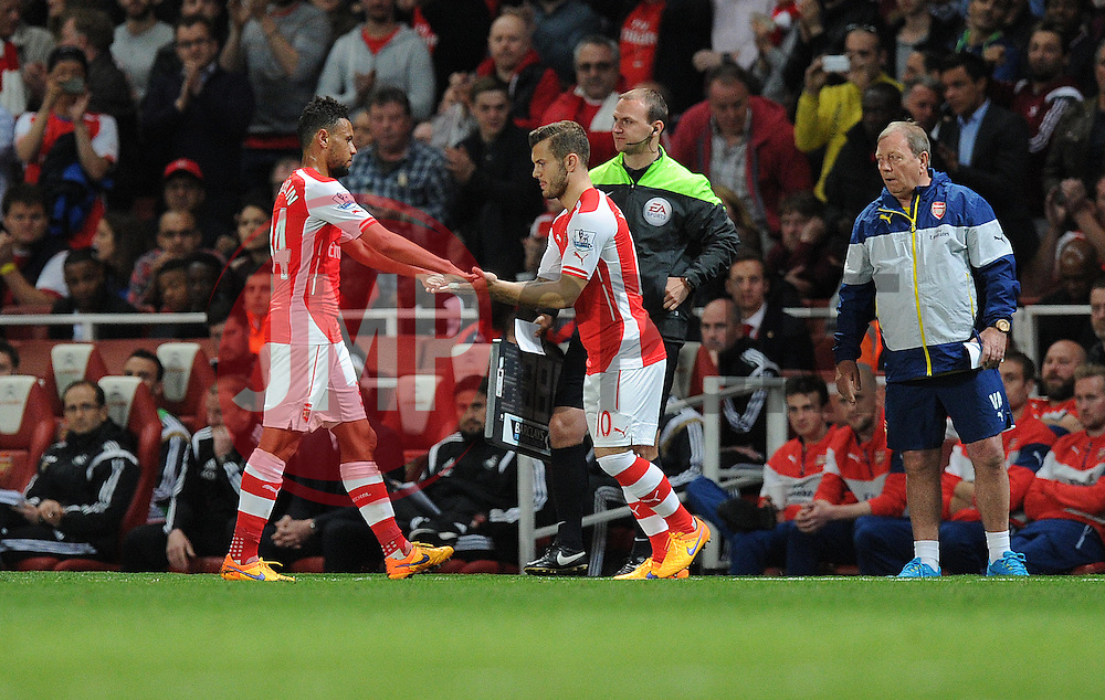 Arsenal's Francis Coquelin is replaced by Arsenal's Jack Wilshere - Photo mandatory by-line: Alex James/JMP - Mobile: 07966 386802 - 11/05/2015 - SPORT - Football - London - Emirates Stadium - Arsenal v Swansea City - Barclays Premier League
