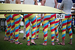 © London News Pictures. 03/07/2012.  Henley-on-Thames, UK. Rowers from Imperial Medics rowing team prepare before a race on Day one of Henley Royal Regatta on the River Thames at Henley-on-Thames, Oxfordshire on July 03, 2013. Photo credit: Ben Cawthra/LNP