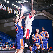 Delaware 87ers Forward MIKE YOUNG (2) drives towards the basket as Westchester Knicks Center LUKE KORNET (21) defends in the first half of a NBA G-league regular season basketball game between the Delaware 87ers and the Westchester Knicks (New York Knicks) Tuesday, Nov. 07, 2017, at The Bob Carpenter Sports Convocation Center in Newark, DEL
