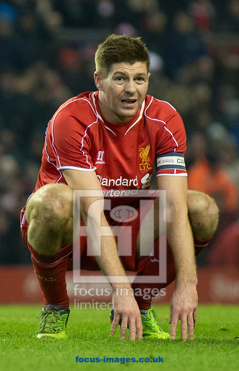 A tired-looking Steven Gerrard of Liverpool during the Capital One Cup match at Anfield, Liverpool<br /> Picture by Russell Hart/Focus Images Ltd 07791 688 420<br /> 20/01/2015