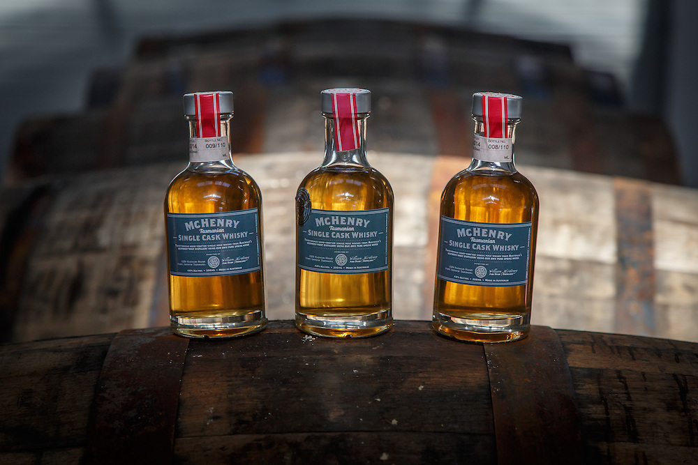 Bottles of a test release of the McHenry Distillery's first house-made singlt malt whisky at McHenry Distillery in Port Arthur, Tasmania, August 25, 2015. Gary He/DRAMBOX MEDIA LIBRARY