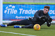 Forest Green Rovers goalkeeper James Montgomery warming up during the EFL Sky Bet League 2 match between Forest Green Rovers and Crewe Alexandra at the New Lawn, Forest Green, United Kingdom on 22 December 2018.