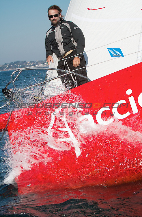 Imoca 60 ACCIONA.Sailing test in Brest, France.