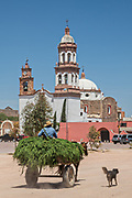 A horse cart passes the Iglesia de San Diego De Alcalá church at the Hacienda de Jaral de Berrio in Jaral de Berrios, Guanajuato, Mexico. The abandoned Jaral de Berrio hacienda was once the largest in Mexico and housed over 6,000 people on the property and is credited with creating Mescal.