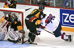 Peter Fabus, Sebastian Osterloh and goalie Robert Muller at ice-hockey match Germany (played in old replika jerseys from year 1946) vs Slovakia at Preliminary Round (group C) of IIHF WC 2008 in Halifax, on May 05, 2008 in Metro Center, Halifax, Nova Scotia, Canada. Germany won 4:2. (Photo by Vid Ponikvar / Sportal Images)