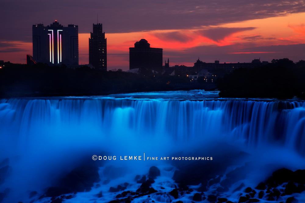 Dawn Begins Over The American Falls, Niagara Falls, New York, USA