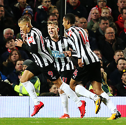 Dwight Gayle of Newcastle United celebrates after scoring his sides first goal - Mandatory by-line: Matt McNulty/JMP - 18/11/2017 - FOOTBALL - Old Trafford - Manchester, England - Manchester United v Newcastle United - Premier League