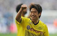FUSSBALL   1. BUNDESLIGA   SAISON 2011/2012   31. SPIELTAG FC Schalke 04 - Borussia Dortmund                      14.04.2012 Shinji Kagawa (Borussia Dortmund)  jubelt nach dem Abpfiff