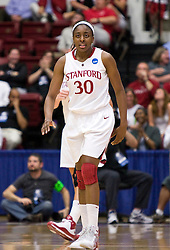 March 22, 2010; Stanford, CA, USA;  Stanford Cardinal forward Nnemkadi Ogwumike (30) during the first half against the Iowa Hawkeyes in the second round of the 2010 NCAA womens basketball tournament at Maples Pavilion. Stanford defeated Iowa 96-67.