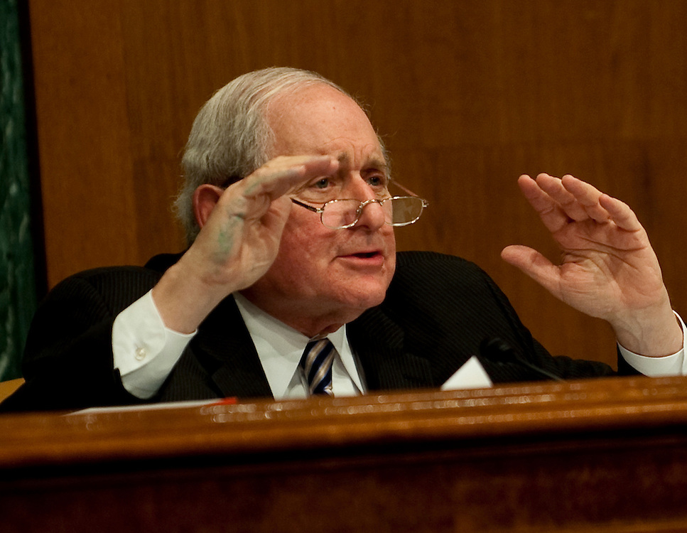 """Apr 13,2010 - Washington, District of Columbia USA -.Senator Carl Levin, D-MI, Chairman of the The Senate Investigations Subcommittee asks querstions during a hearing on """"Wall Street and the Financial Crisis: The Role of High Risk Home Loans."""" (Credit Image: © Pete Marovich/ZUMA Press)"""
