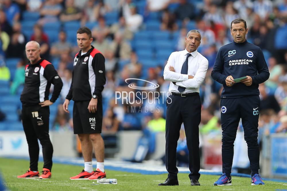 Brighton Manager, Chris Hughton and Brighton Assistant Manager, Colin Calderwood during the EFL Sky Bet Championship match between Brighton and Hove Albion and Barnsley at the American Express Community Stadium, Brighton and Hove, England on 24 September 2016.
