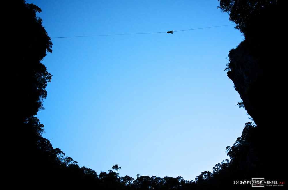 Florian Herla catching the line on the very scary highline of Harwoods hole forest. New Zealand.