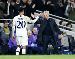LONDON, Nov. 27, 2019  Tottenham Hotspur's head coach Jose Mourinho (R) greets Dele Alli during the UEFA Champions League Group B match between Tottenham Hotspur and Olympiakos at the Tottenham Hotspur Stadium in London, Britain on Nov. 26, 2019..FOR EDITORIAL USE ONLY. NOT FOR SALE FOR MARKETING OR ADVERTISING CAMPAIGNS. NO USE WITH UNAUTHORIZED AUDIO, VIDEO, DATA, FIXTURE LISTS, CLUB/LEAGUE LOGOS OR ''LIVE'' SERVICES. ONLINE IN-MATCH USE LIMITED TO 45 IMAGES, NO VIDEO EMULATION. NO USE IN BETTING, GAMES OR SINGLE CLUB/LEAGUE/PLAYER PUBLICATIONS. (Photo by Matthew Impey/Xinhua) (Credit Image: © Han Yan/Xinhua via ZUMA Wire)