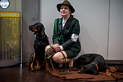 Angelika Strycka a participant of the World Dog Show 2017 from Poland dressed in hunter clothes with her Polish Hunting Dogs (Balto Gorolia Klenots). Over 31,000 dogs from 73 nations will come together from 8-12 November 2017 in Leipzig for the biggest dog show in the world.