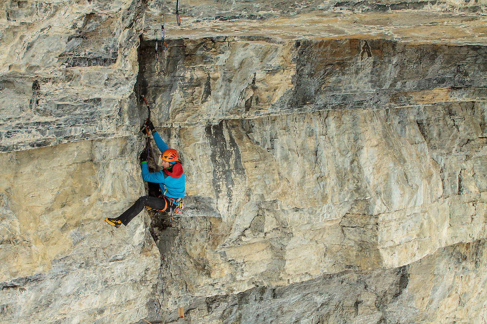 Will Mayo on the crux m11+ pitch of a new route called NoPhobia