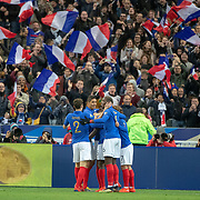 PARIS, FRANCE - March 25:  Supporters celebrate a goal from Samuel Umtiti #5 of France as he is congratulated by team mates during the France V Iceland, 2020 European Championship Qualifying, Group Stage at  Stade de France on March 25th 2019 in Paris, France (Photo by Tim Clayton/Corbis via Getty Images)