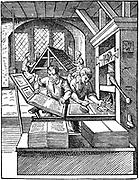 The Printer's Workshop. Woodcut by Jost Amman from Hartmann Schopper 'Panoplia', Frankfort-am-Main, 1568