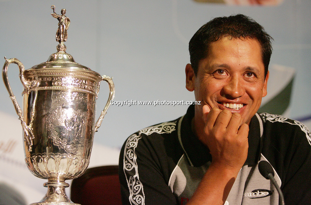 2005 US Golf Open Champion Michael Campbell listens to the press after arriving in Auckland this afternoon at Auckland International Airport, Auckland, New Zealand on Wednesday 27 July, 2005. Photo: Hannah Johnston/PHOTOSPORT<br />