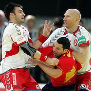 GEPA-24011079144 - INNSBRUCK,AUSTRIA,24.JAN.10 - SPORT DIVERS, HANDBALL - EHF Europameisterschaft, EURO 2010, Laenderspiel, Polen vs Spanien. Bild zeigt Daniel Zoltak (POL), Raul Entrerrios (ESP) und Karol Bielecki (POL). Foto: GEPA pictures/ Amir Beganovic.FOT. GEPA / WROFOTO.*** POLAND ONLY !!! ***