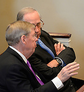 U.S. Johnny Isakson, R-Ga., left, talks with former U.S. Sen. Sam Nunn, D-Ga., right, during a memorial service for Georgia Gov. Carl Sanders at Second Ponce de Leon Baptist Church on Saturday, Nov. 22, 2014, in Atlanta. Six living Georgia governors attending the service included current Gov. Nathan Deal and former governors Sonny Perdue, Roy Barnes, Zell Miller, Joe Frank Harris and Jimmy Carter. Photo by David Tulis