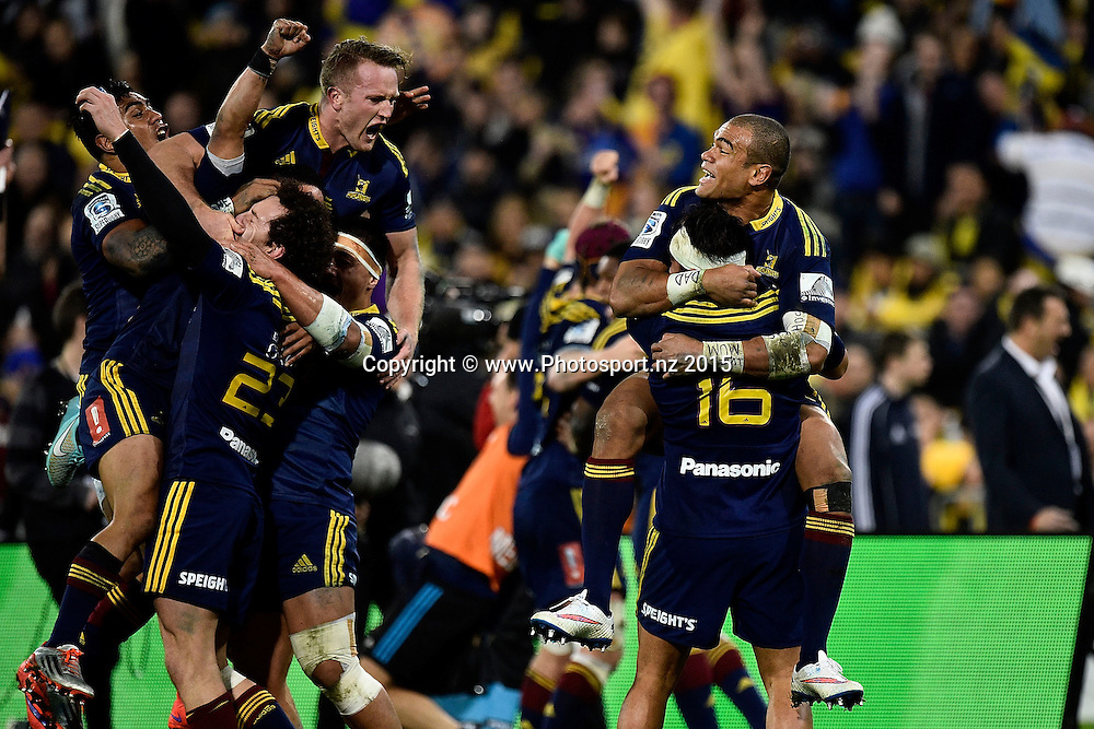 The Highlanders celebrate their win during the Super Rugby final rugby match between the Hurricanes and Highlanders at the Westpac Stadium in Wellington on Saturday the 4th of July 2015. Copyright photo by Marty Melville / www.Photosport.nz