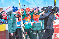 24.02.2019, Bergiselschanze, Innsbruck, AUT, FIS Weltmeisterschaften Ski Nordisch, Seefeld 2019, Skisprung, Herren, Teambewerb, Wertungssprung, im Bild v.l.: Andreas Wellinger (GER), Markus Eisenbichler (GER), Stephan Leyhe (GER), Karl Geiger (GER) // f.l.: Andreas Wellinger of Germany Markus Eisenbichler of Germany Stephan Leyhe of Germany Karl Geiger of Germany during the competition jump for the men's skijumping Team competition of FIS Nordic Ski World Championships 2019 at the Bergiselschanze in Innsbruck, Austria on 2019/02/24. EXPA Pictures © 2019, PhotoCredit: EXPA/ Dominik Angerer