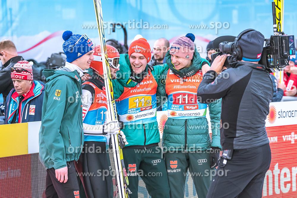 24.02.2019, Bergiselschanze, Innsbruck, AUT, FIS Weltmeisterschaften Ski Nordisch, Seefeld 2019, Skisprung, Herren, Teambewerb, Wertungssprung, im Bild v.l.: Andreas Wellinger (GER), Markus Eisenbichler (GER), Stephan Leyhe (GER), Karl Geiger (GER) // f.l.: Andreas Wellinger of Germany Markus Eisenbichler of Germany Stephan Leyhe of Germany Karl Geiger of Germany during the competition jump for the men's skijumping Team competition of FIS Nordic Ski World Championships 2019 at the Bergiselschanze in Innsbruck, Austria on 2019/02/24. EXPA Pictures © 2019, PhotoCredit: EXPA/ Dominik Angerer