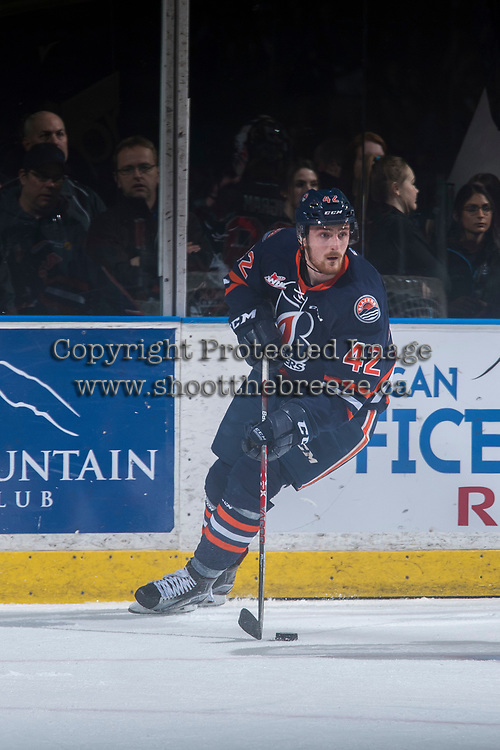 KELOWNA, CANADA - MARCH 24: Ondrej Vala #42 of the Kamloops Blazers skates with the puck behind the net against the Kelowna Rockets on March 24, 2017 at Prospera Place in Kelowna, British Columbia, Canada.  (Photo by Marissa Baecker/Shoot the Breeze)  *** Local Caption ***