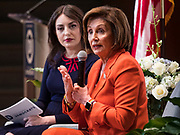 26 OCTOBER 2019 - DES MOINES, IOWA: LINDSAY PAULSON (left) listens to Congresswoman NANCY PELOSI (D-CA), Speaker of the House of Representatives, during an appearance by Speaker Pelosi at Drake University. Speaker Pelosi talked about her experiences as Speaker of the House after the Democrats took back the House of Representatives in the 2018 midterm elections.         PHOTO BY JACK KURTZ