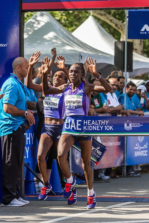 UAE Healthy Kidney 10K, Joyce Chepkurui nips Gladys Cherono, both of Kenya, at the line to win