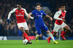 Danny Welbeck of Arsenal battles for the ball with Cesc Fabregas of Chelsea - Mandatory by-line: Alex James/JMP - 10/01/2018 - FOOTBALL - Stamford Bridge - London, England - Chelsea v Arsenal - Carabao Cup semi-final first leg