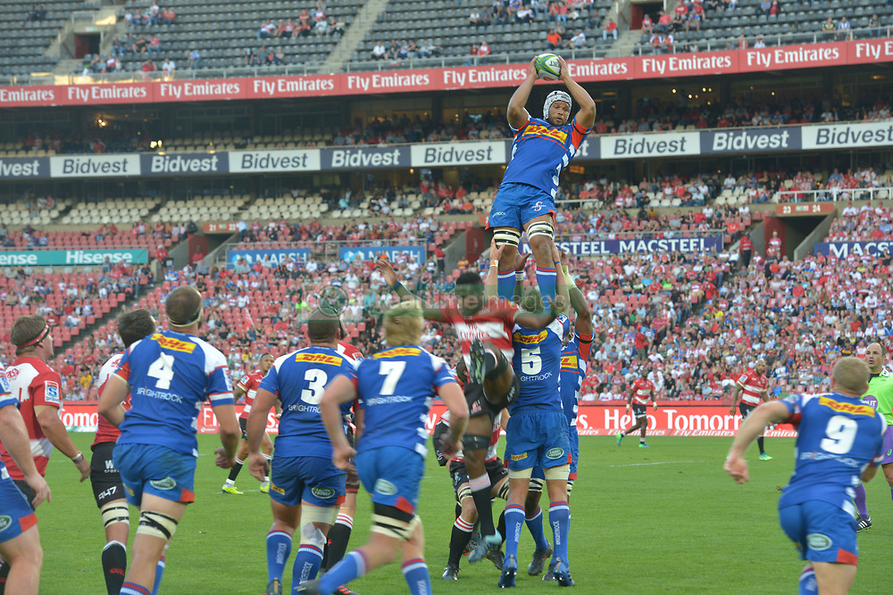 070418 Emirates Airlines Park, Ellis Park, Johannesburg, South Africa. Super Rugby. Lions vs Stormers. Ramone Samuels is lifted by team mates during a line-out. <br />Picture: Karen Sandison/African News Agency (ANA)