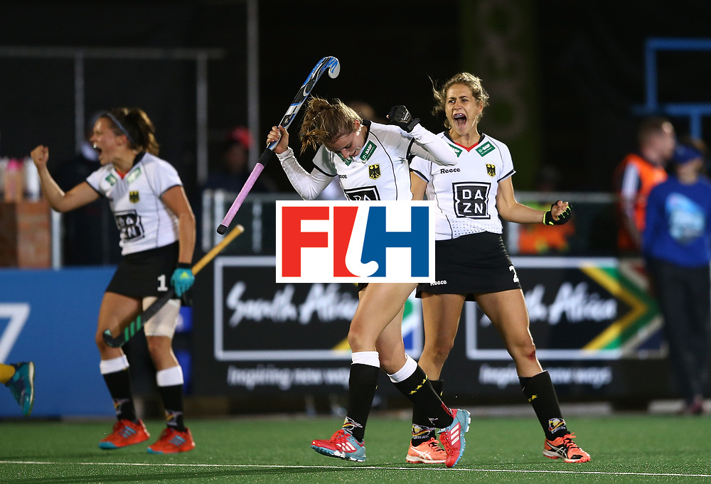JOHANNESBURG, SOUTH AFRICA - JULY 18:  Elisa Grave, Marie Mavers and Charlotte Stapenhorst of Germany celerates at the final whistle during day 6 of the FIH Hockey World League Women's Semi Finals quarter final match between Germany and South Africa at Wits Univesity on July 18, 2017 in Johannesburg, South Africa.  (Photo by Jan Kruger/Getty Images for FIH)